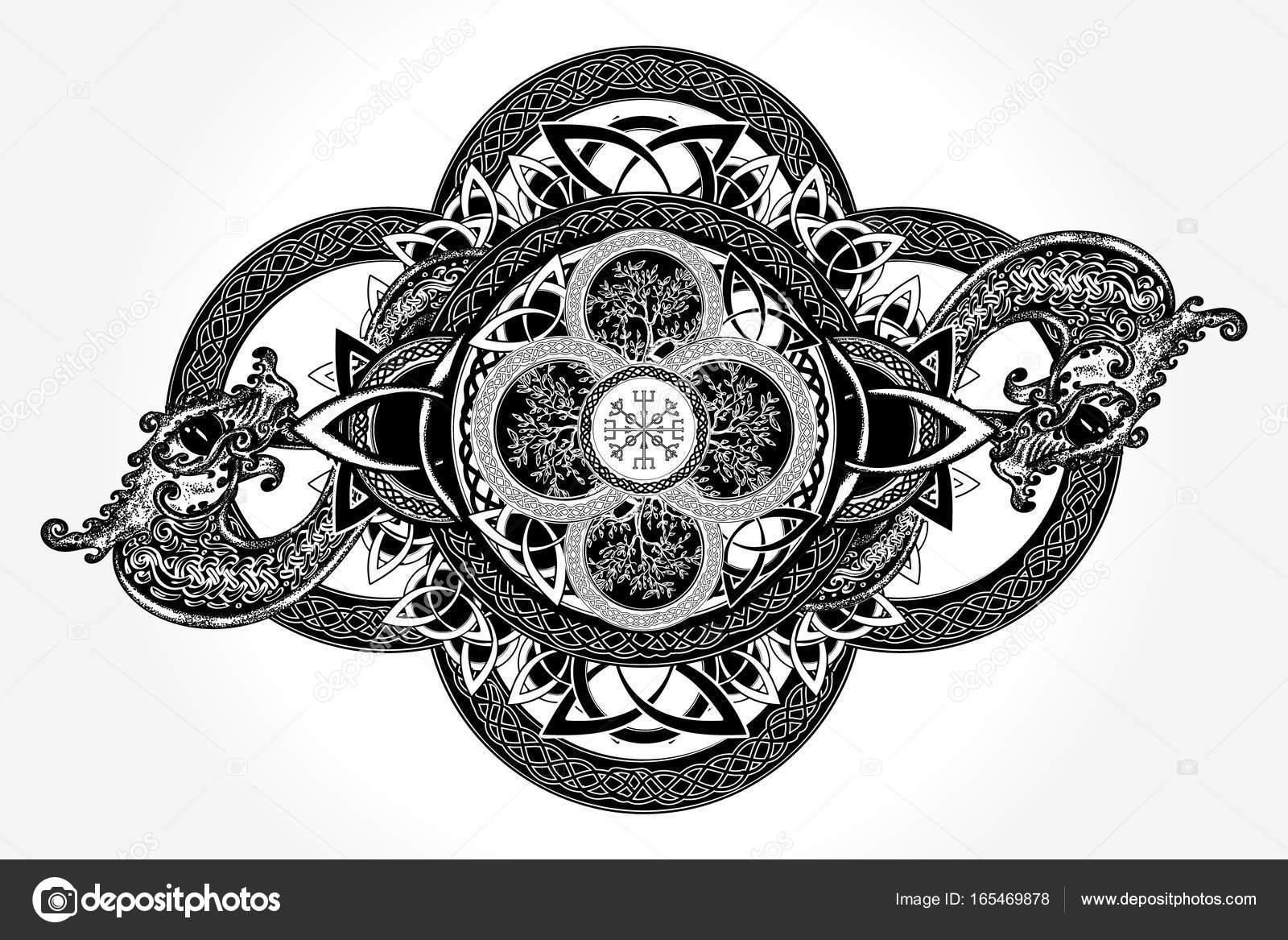 Diseño Del Tatuaje Y Camiseta Celta Dragones Y El árbol Celta
