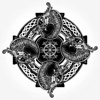 Celtic concept tattoo and t-shirt design. Helm of Awe