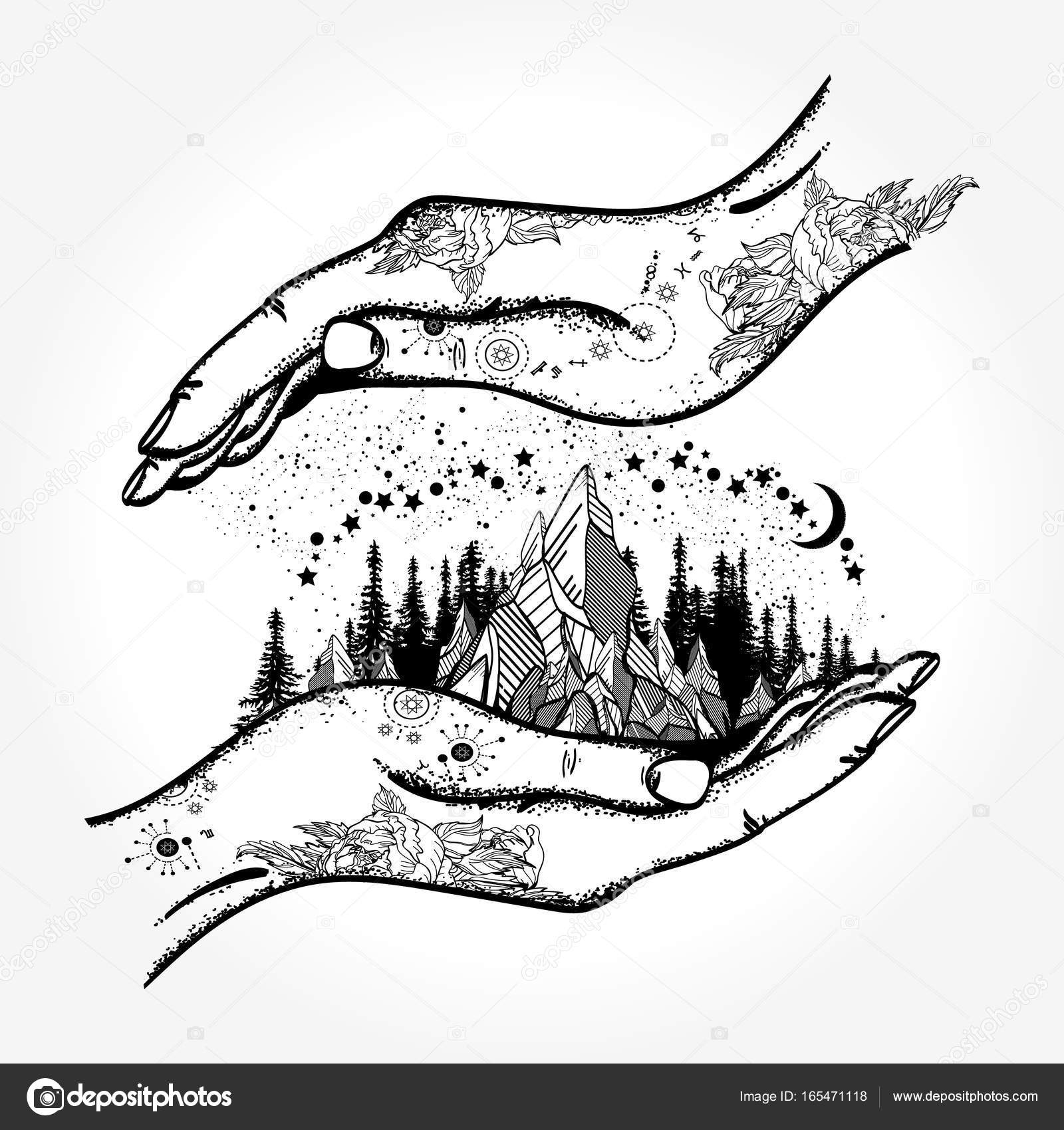 Hands and mountains tattoo and t shirt design symbol of travel hands and mountains tattoo and t shirt design symbol of travel stock vector biocorpaavc Images
