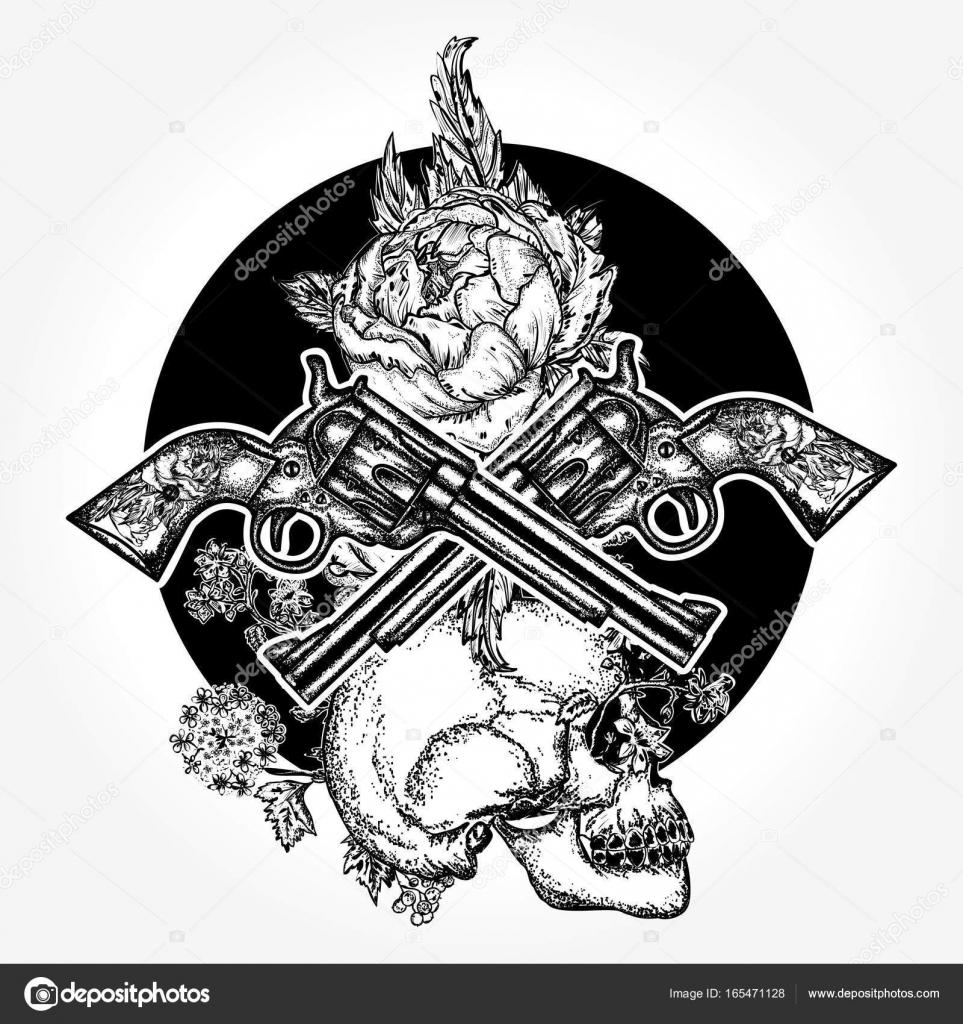 Imágenes Calaveras Con Armas De Fuego Cruzadas Cráneo Armas De