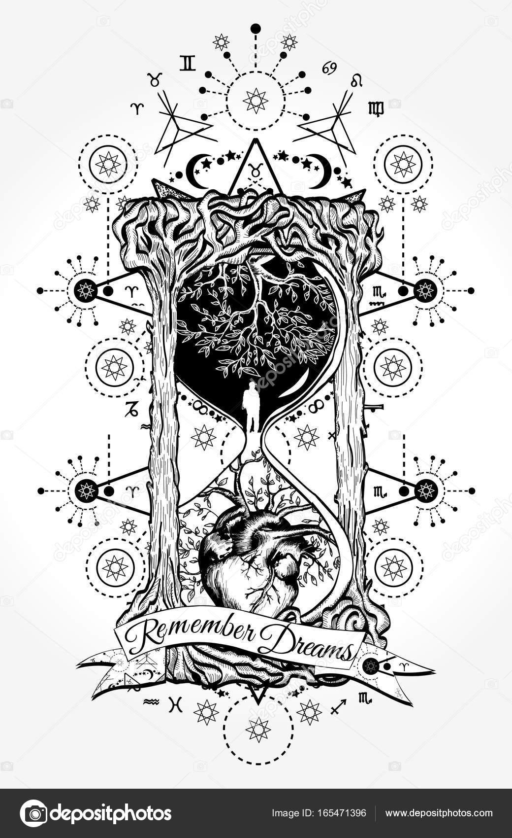 Diseño del tatuaje y camiseta de reloj de arena. Árbol y corazón en ...
