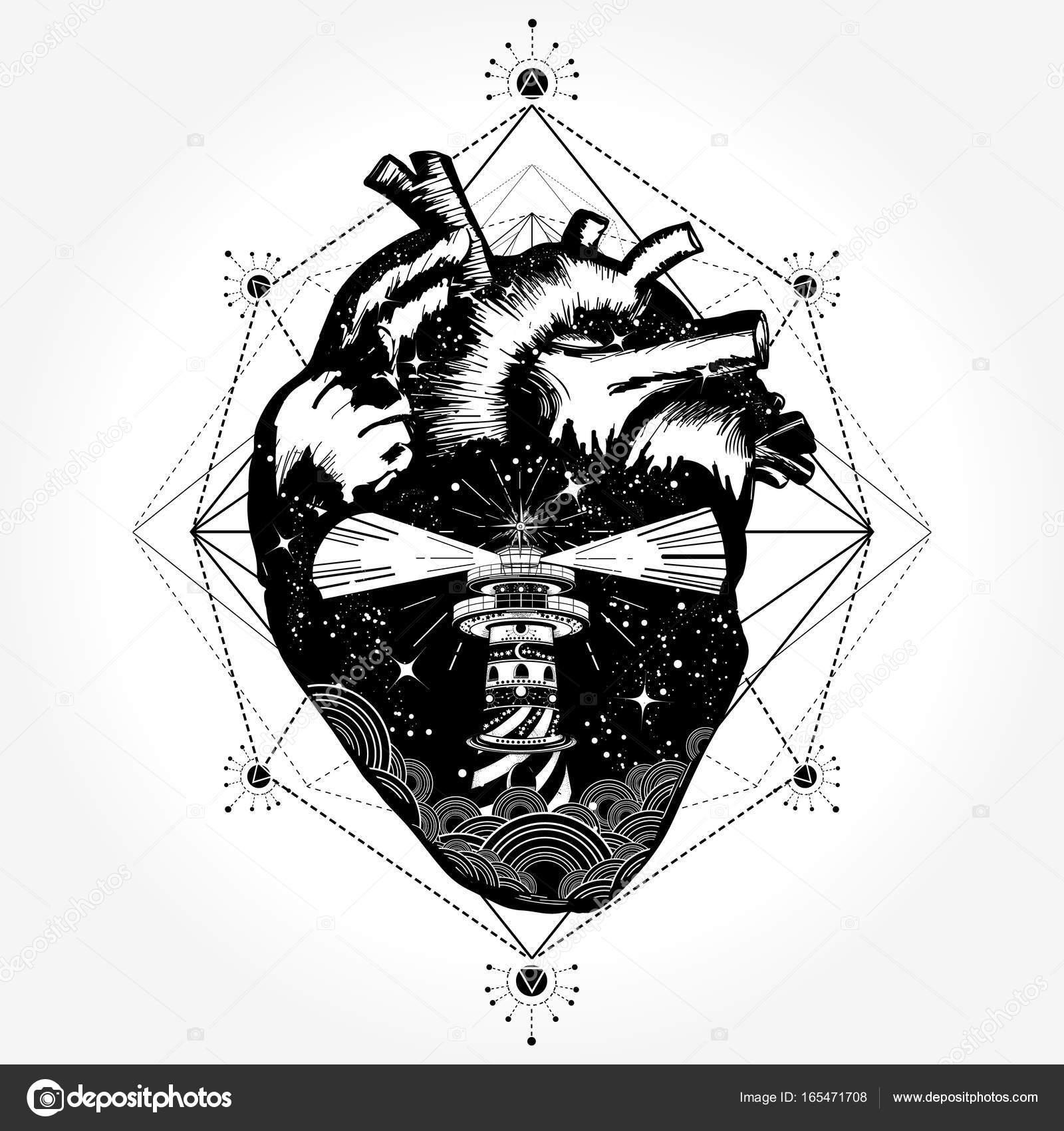 26ea40e9fa8e8 Heart tattoo and t-shirt design. Surreal anatomical heart tattoo boho  style, travel, outdoors. Love tattoo. Compass in the heart steampunk tattoo,  ...