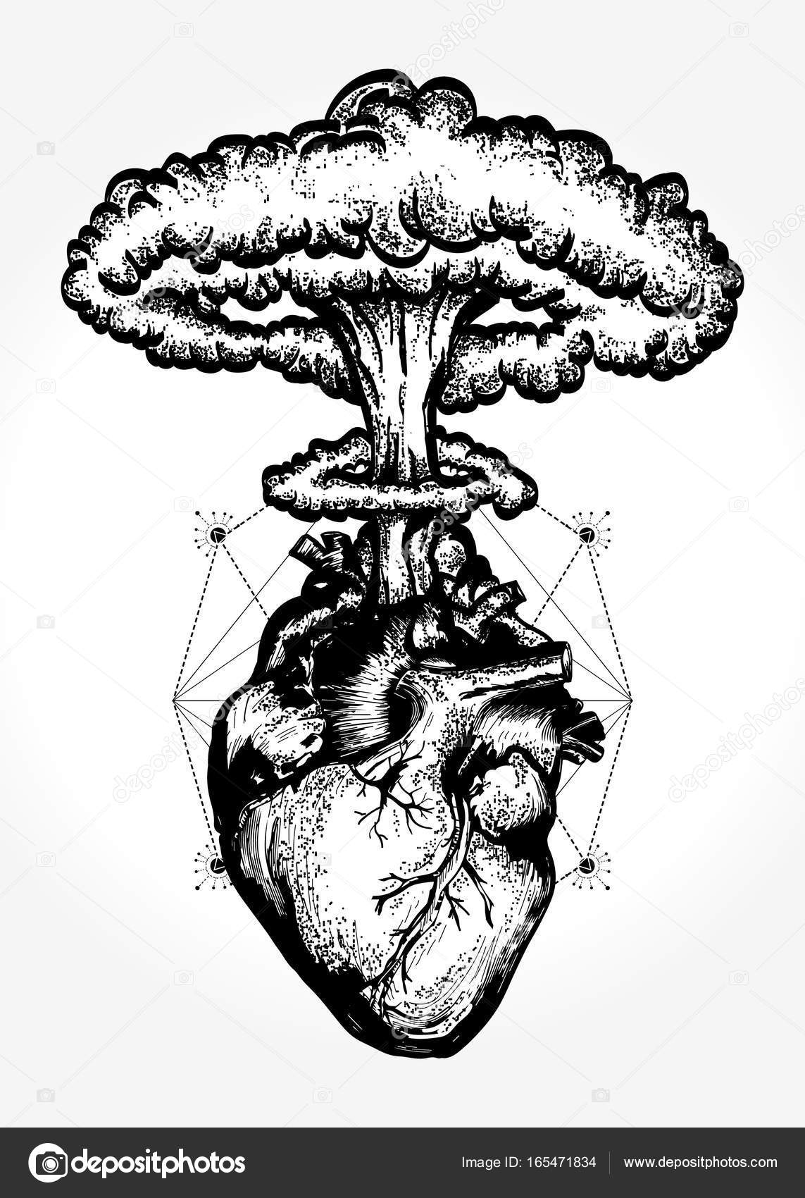 Nuclear explosion of anatomical heart t-shirt design — Stock Vector ...