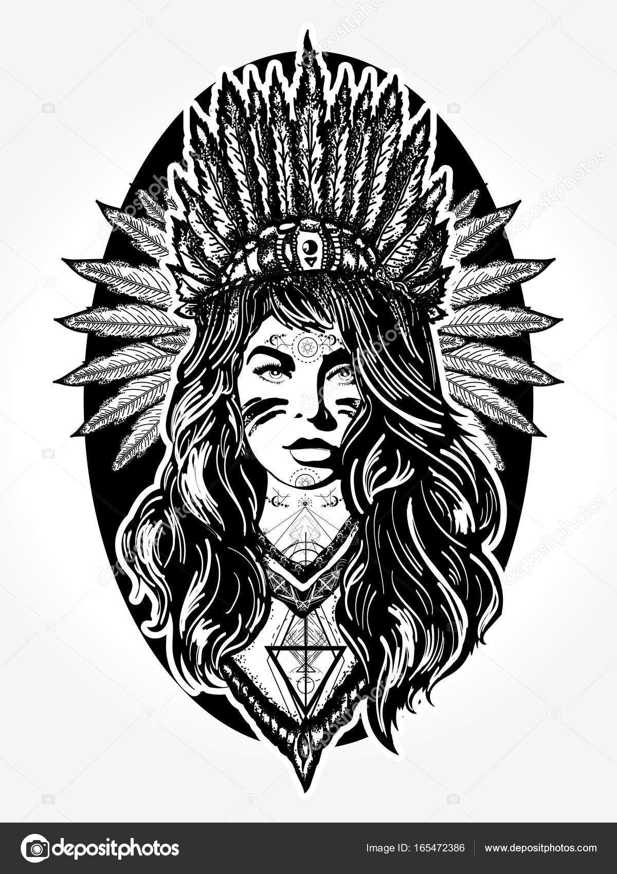Native American Woman Tattoo Art Ethnic Girl Warrior Stock Vector