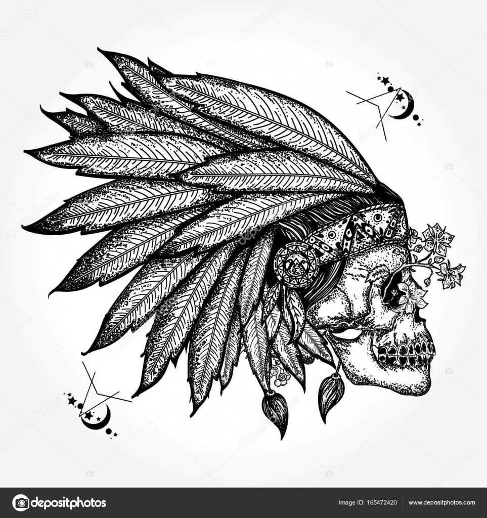 Indian skull tattoo art warrior symbol native american indian warrior symbol native american indian stock vector buycottarizona Images