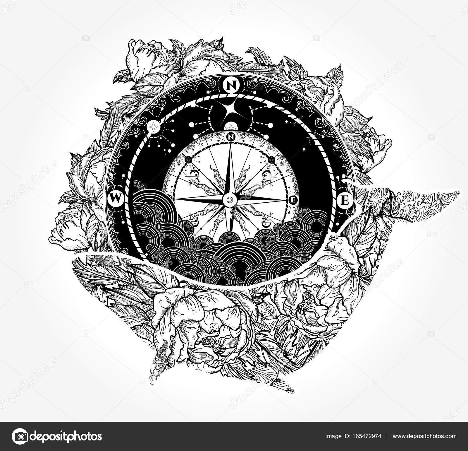 Whale And Compass Tattoo And T Shirt Design Antique Compass Stock