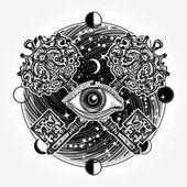 Fotografie All seeing eye tattoo occult art, masonic symbol and vintage