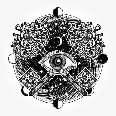 All seeing eye tattoo occult art, masonic symbol and vintage