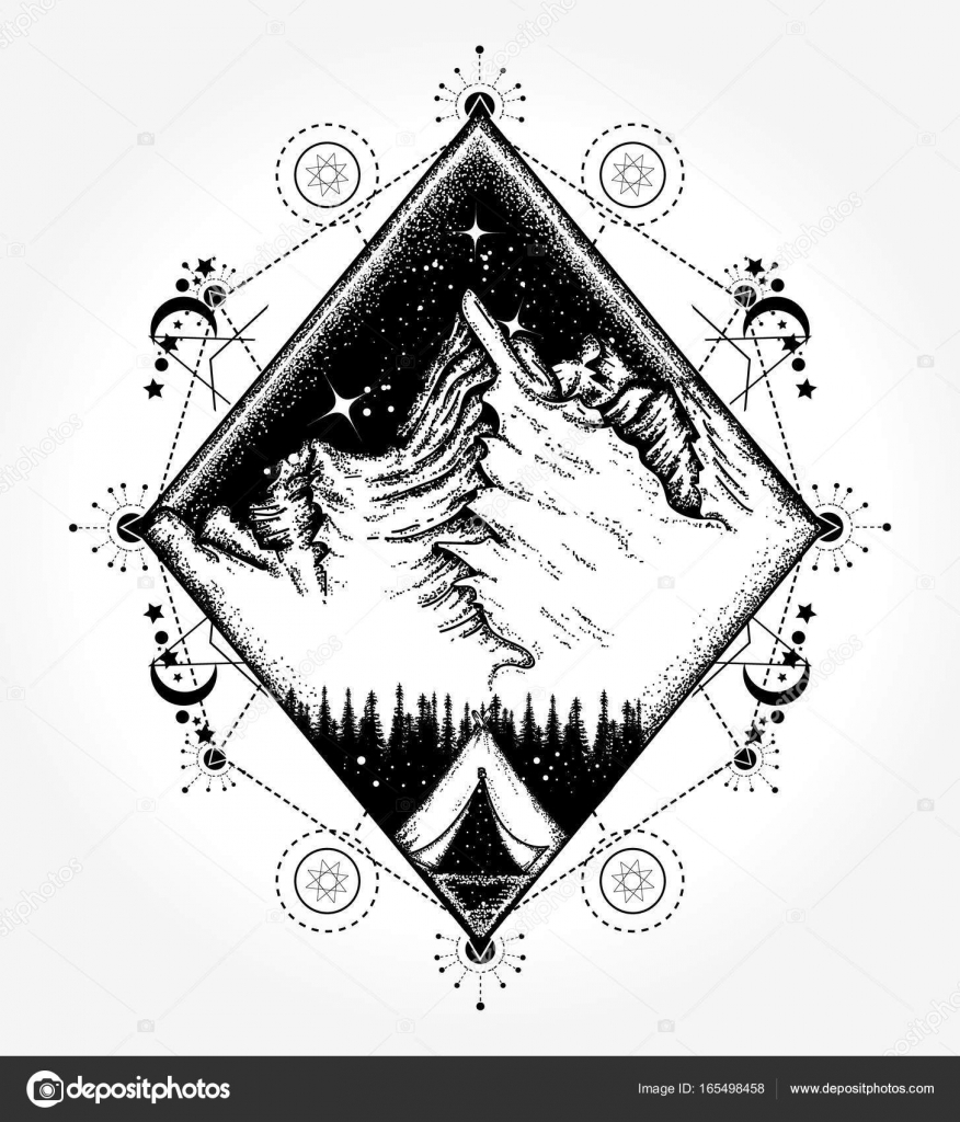 Camping tattoo and t shirt design symbol of tourism travel camping tattoo and t shirt design symbol of tourism travel stock vector biocorpaavc Images