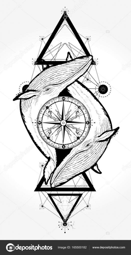 Dos Ballenas Y Compass Rose Tattoo Estilo Geometrico Aventura