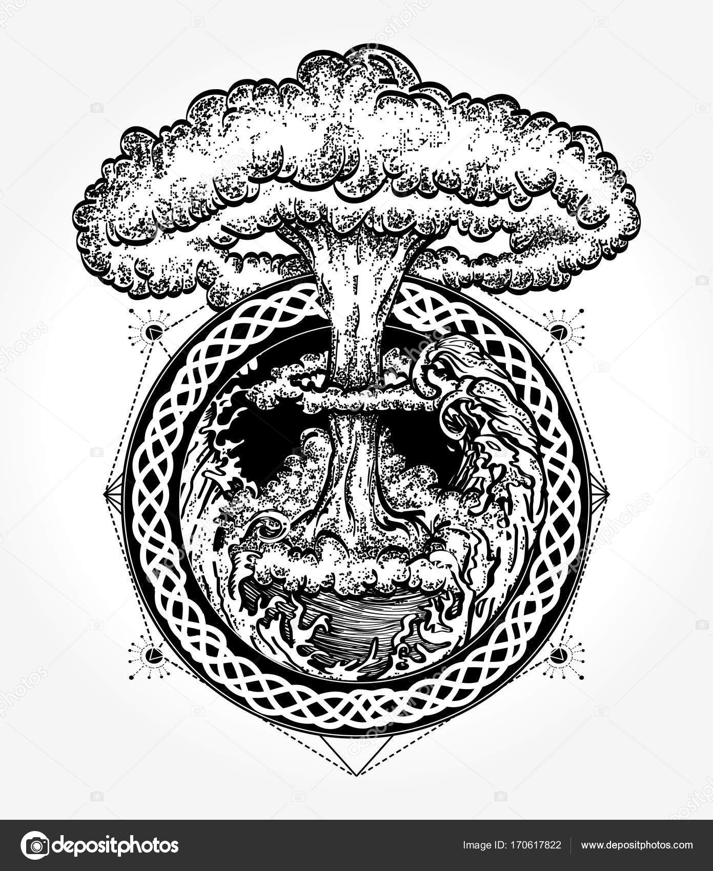 Nuclear explosion tattoo art symbol of destruction and death nuclear explosion tattoo art symbol of destruction and death end of world last war tsunami and nuclear explosion t shirt design vector by intueri biocorpaavc