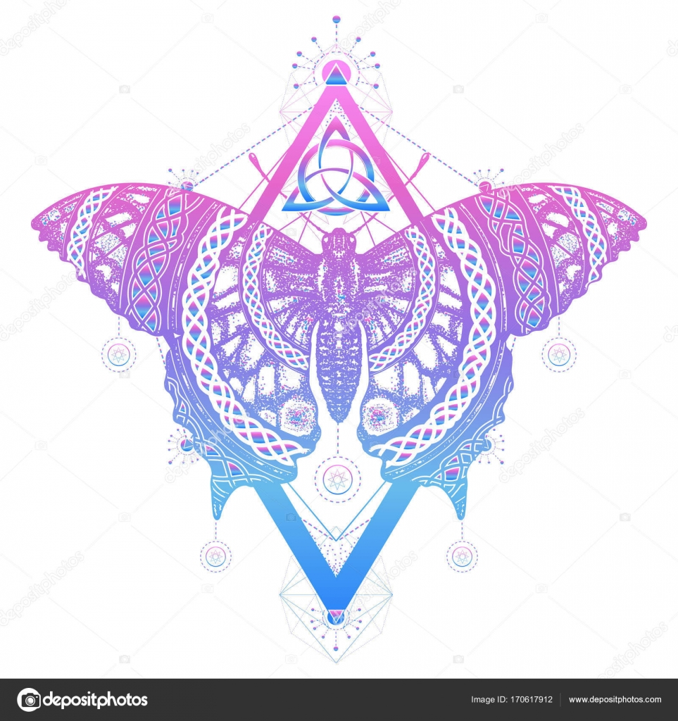 1ecc859d9 Butterfly tattoo and t-shirt design. Butterfly celtic style. Mystical symbol  of freedom, nature, tourism. Beautiful Swallowtail boho — Vector by intueri