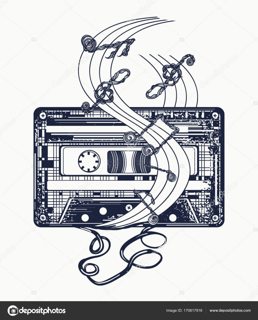 Audio cassette and music notes tattoo and t shirt design stock audio cassette and music notes tattoo and t shirt design symbol of retro music nostalgia 80th and 90th old audio cassette and music notes symbol of pop biocorpaavc Image collections
