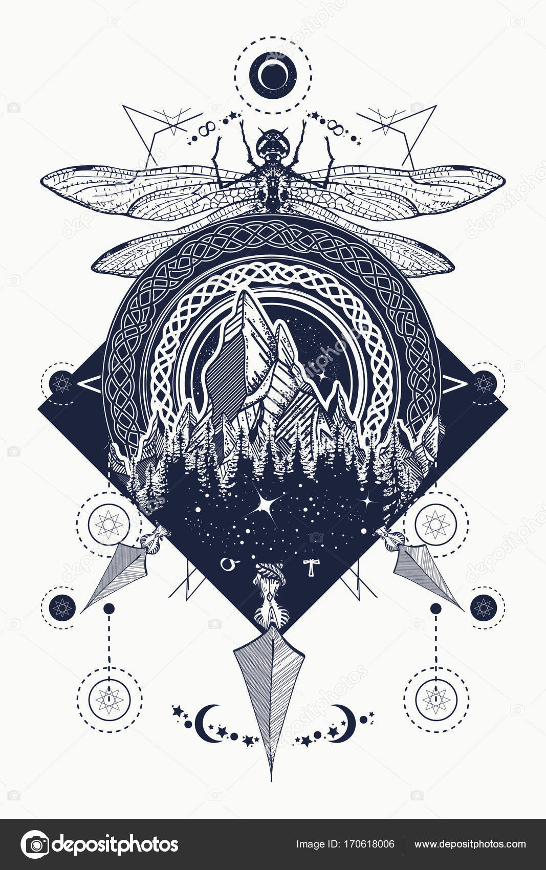 Dragonfly Mountains Crossed Arrows Tattoo Mystical Symbols Stock