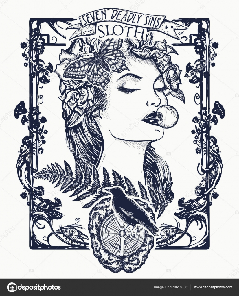 Sloth seven deadly sins tattoo and t shirt design lazy woman seven deadly sins tattoo and t shirt design lazy woman symbol of inaction apathy idleness melancholy depression boredom seven mortal sins biocorpaavc Image collections