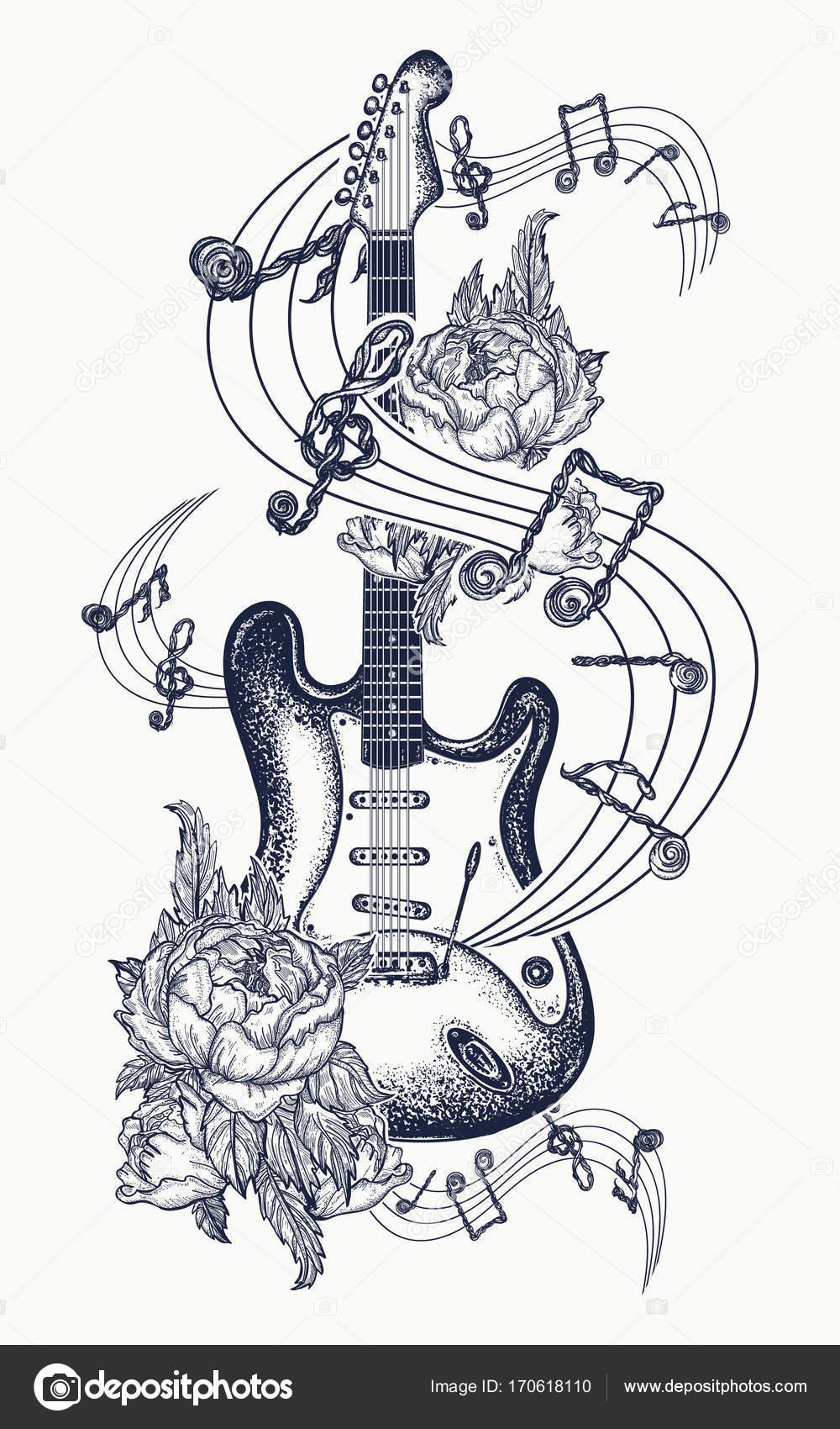 Tatuaje De Guitarra Guitarra Eléctrica Rosas Y Notas Musicales