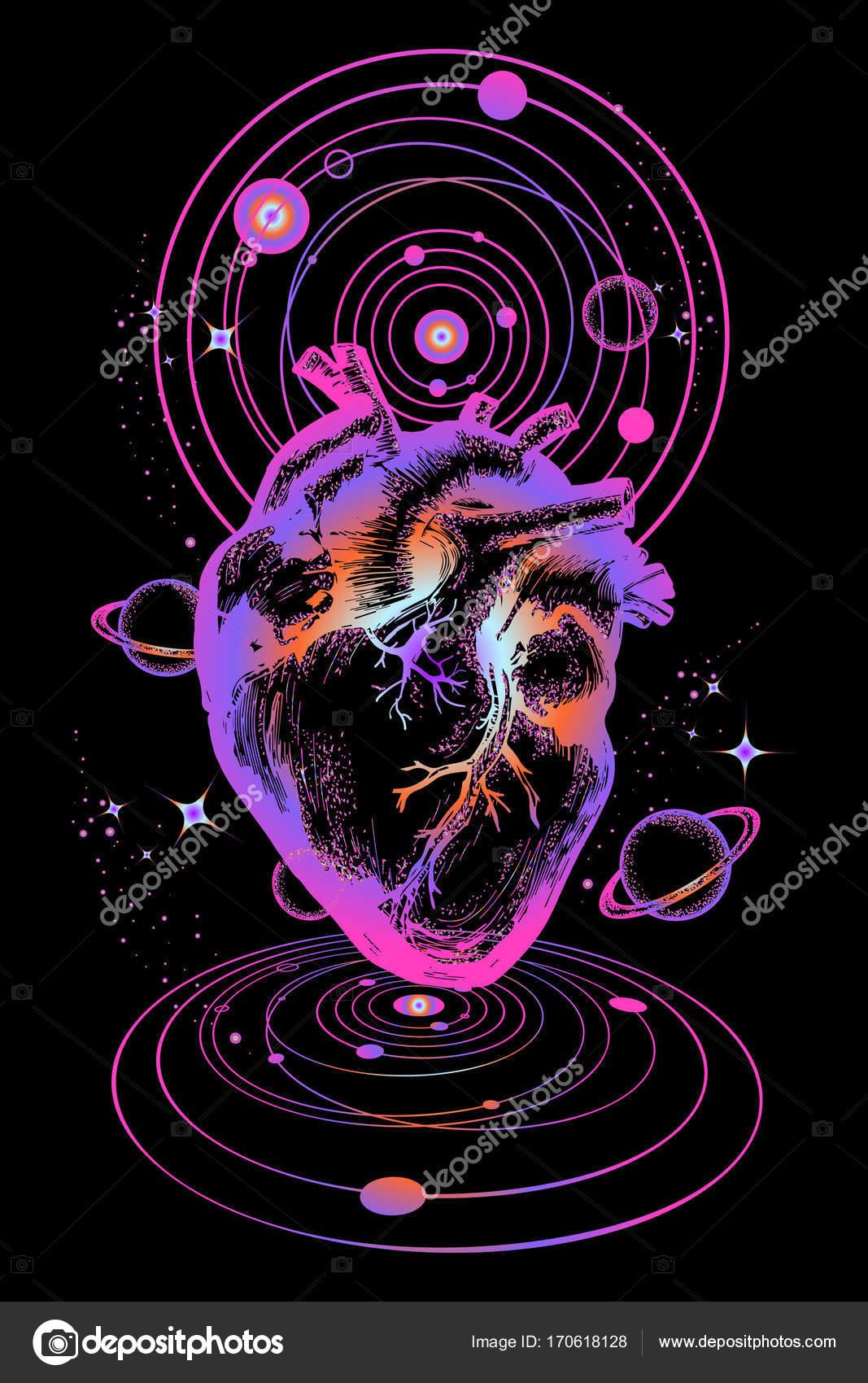 Coeur En Tatouage De L Espace Cœur Anatomique Entre Les Galaxies Et