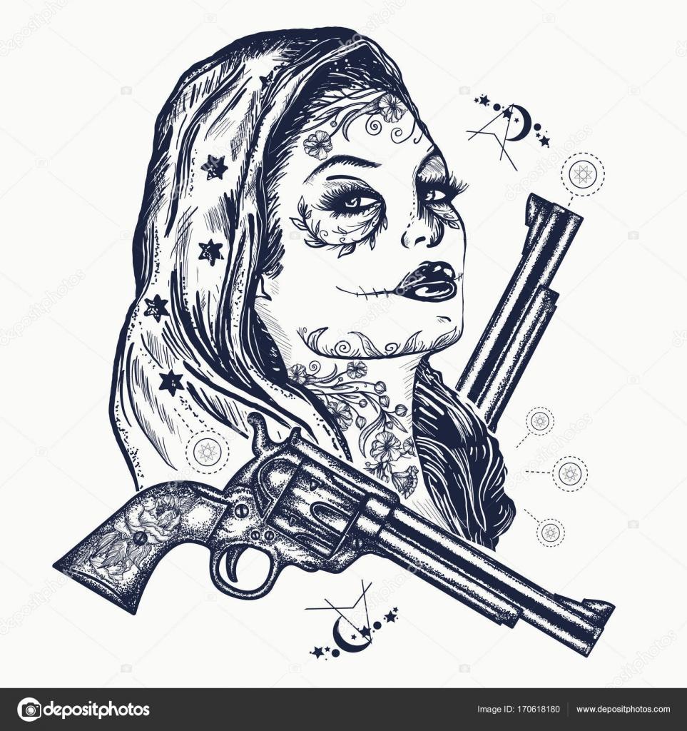 Pmages: sugar skull woman tattoos | Wild west woman tattoo