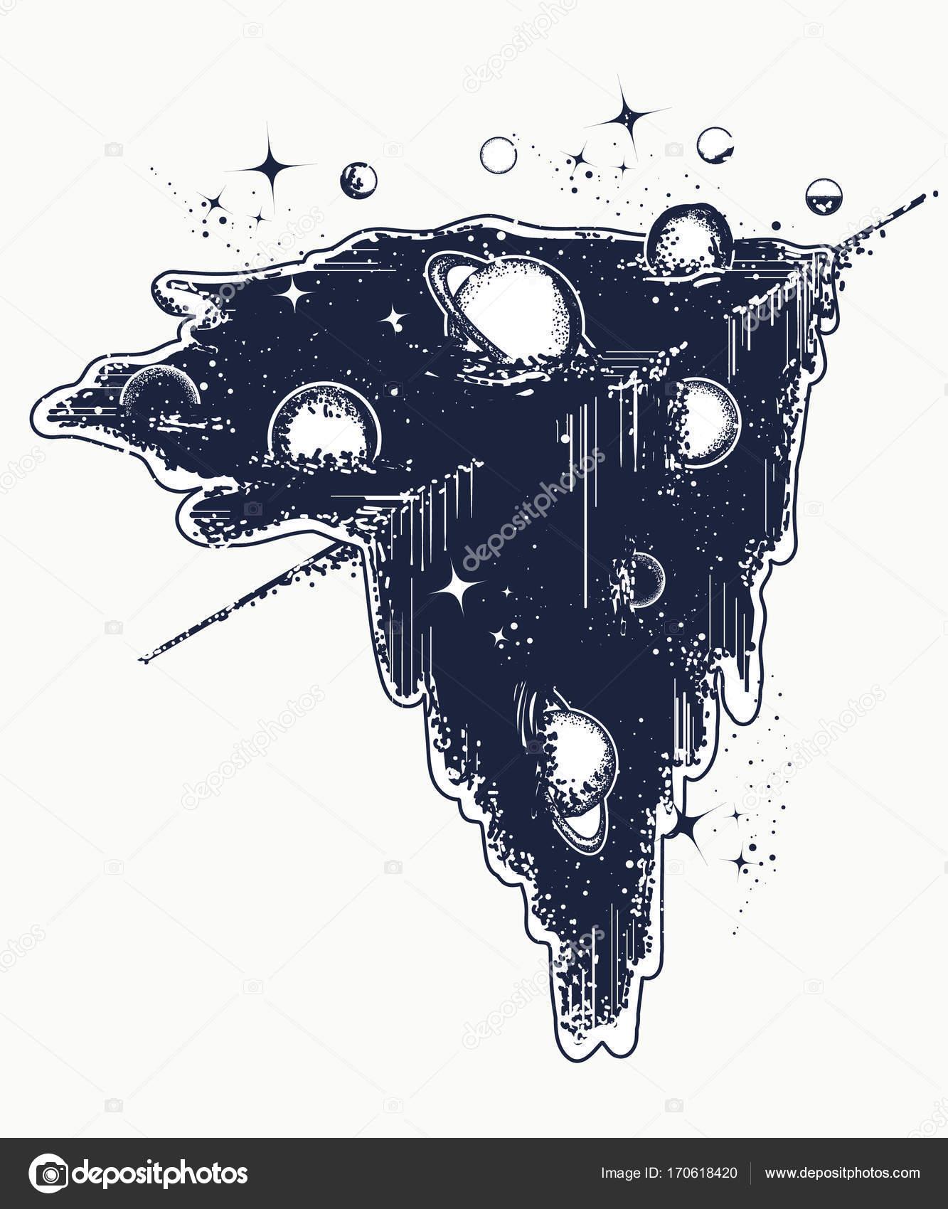 Tatouage De L Univers Et De T Shirt Design Systeme De Symboles