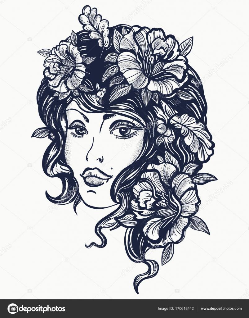 Tatouage De La Vieille Ecole De Femme Nature Automne Liberty