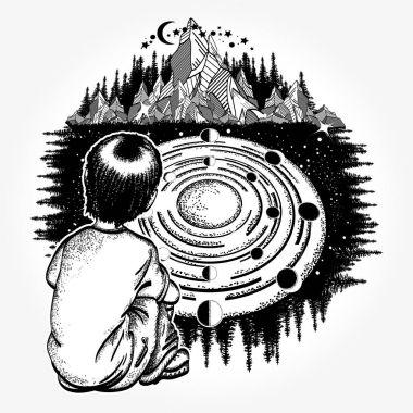Dreamer tattoo art. Ingenious boy studies solar system
