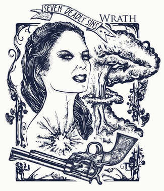 Wrath. Seven deadly sins tattoo and t-shirt design. Angry woman