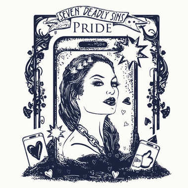 Pride. Seven deadly sins tattoo and t-shirt design