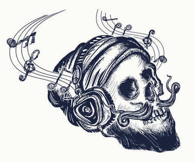 Human skull tattoo and t-shirt design. Skull of the bearded