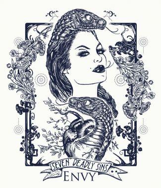Envy. Seven deadly sins tattoo and t-shirt design. Envious woman