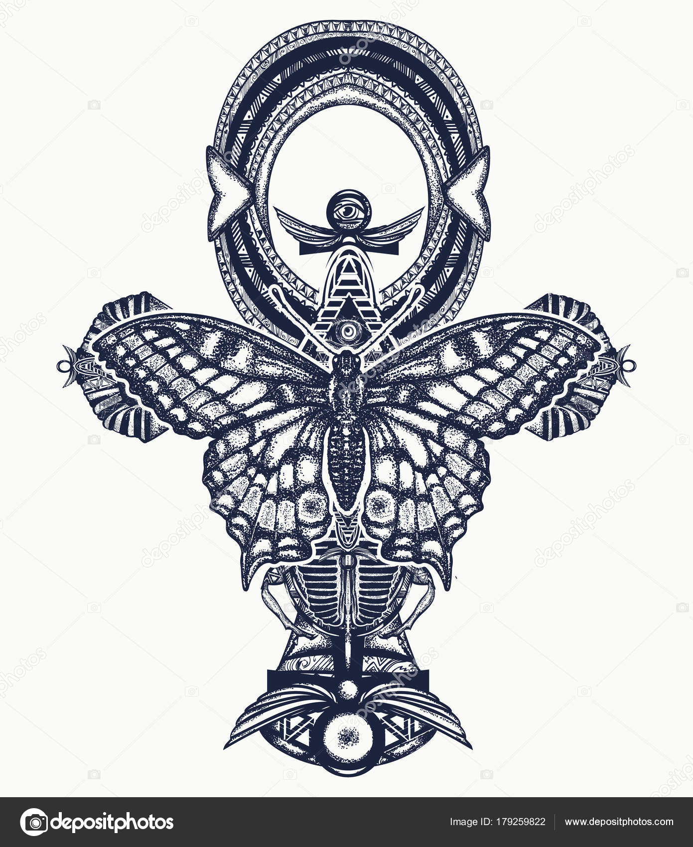 Cross Butterfly Tattoo Ankh Butterfly Tattoo Shirt Design
