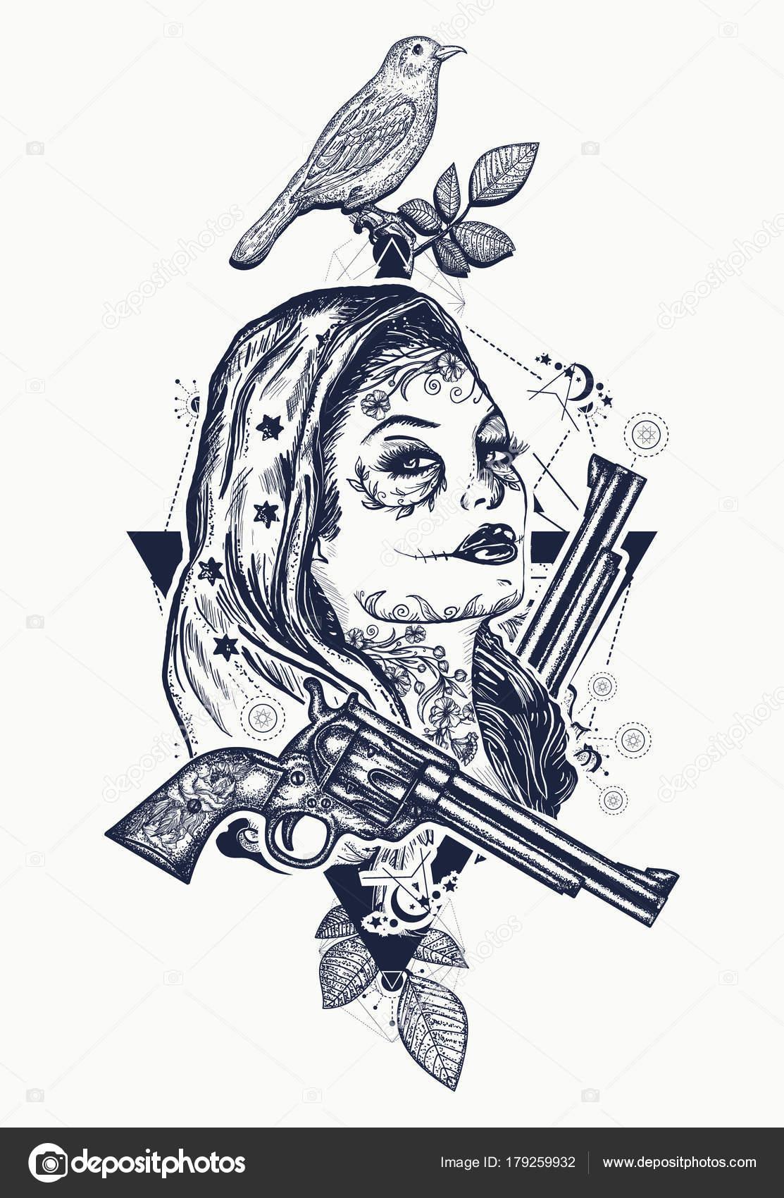 Diseño Arte Camiseta Tatuaje Criminal Mexicana Tatuaje Mujer Salvaje