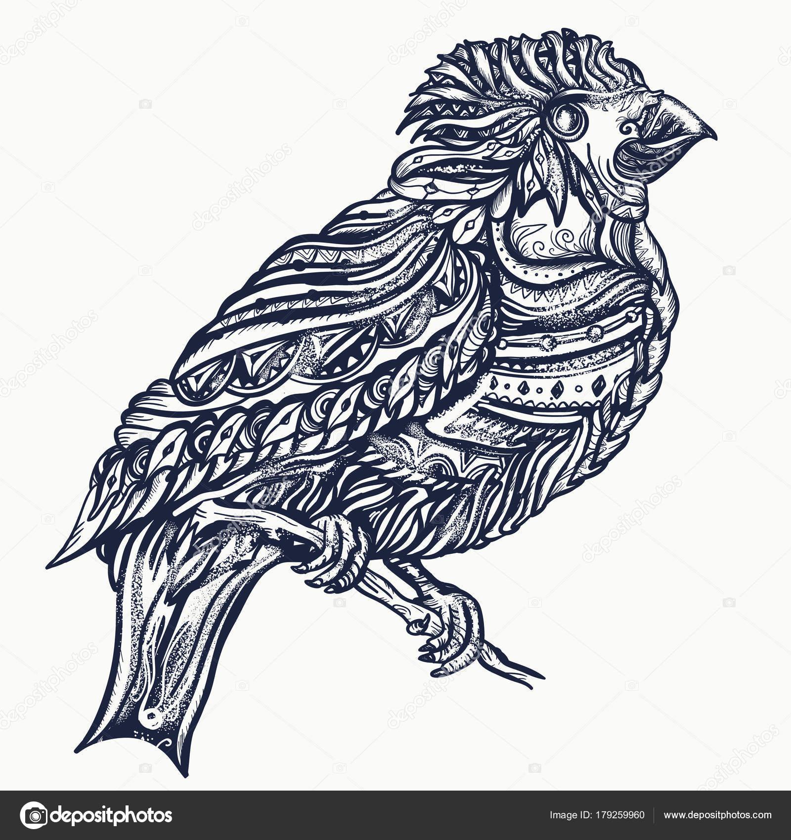 Desenho Tatuagem Shirt Pássaros Mágicos Pássaro Bonito