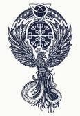 Kouzlo tepla ptáků tetování a tričko keltský design. Symbol, oživení, regenerace, života a smrti. Keltské styl tetování pták Phoenix