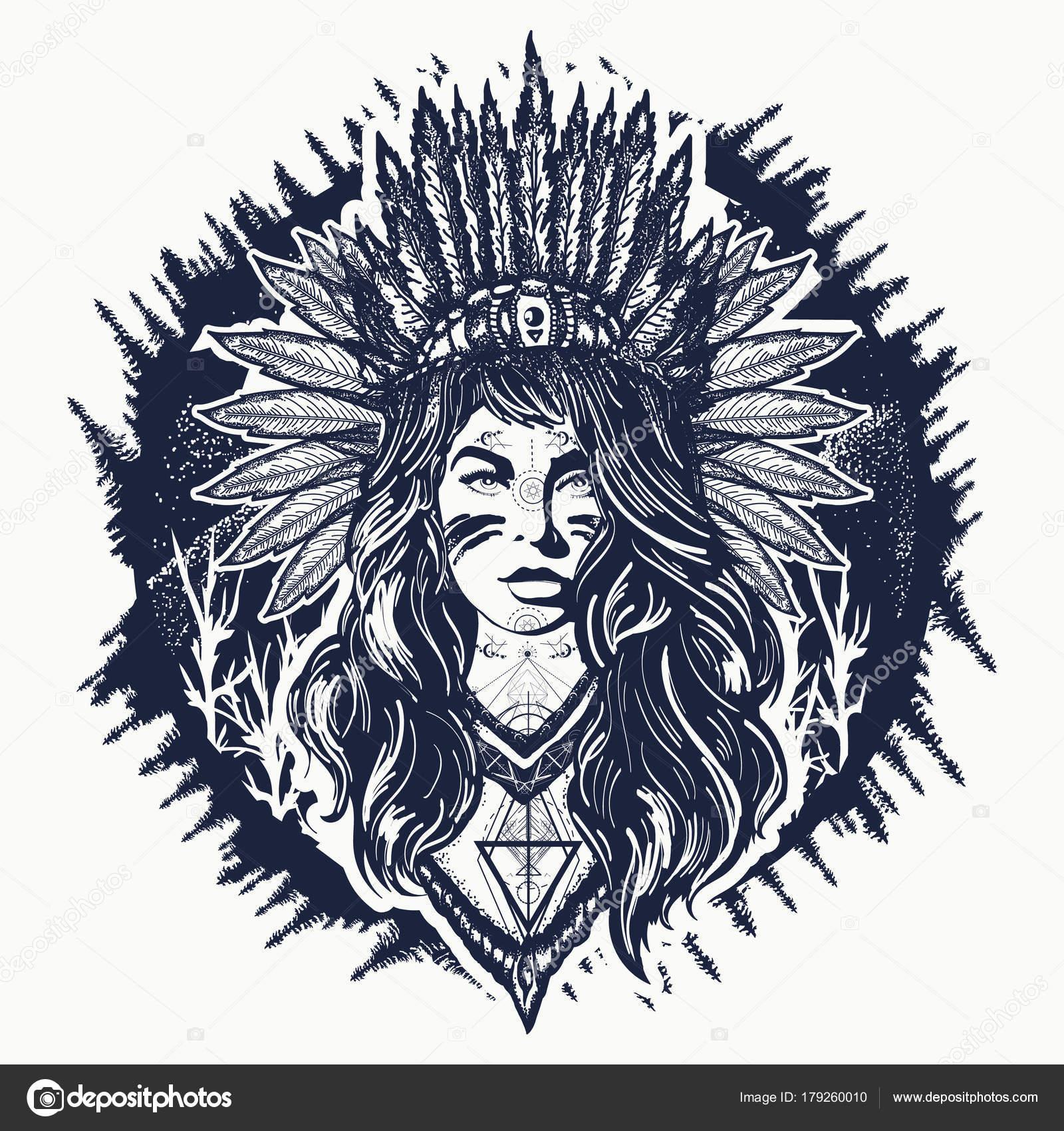 Dibujos Guerreras Indias Diseño De Tatuaje Y Camiseta Mujer