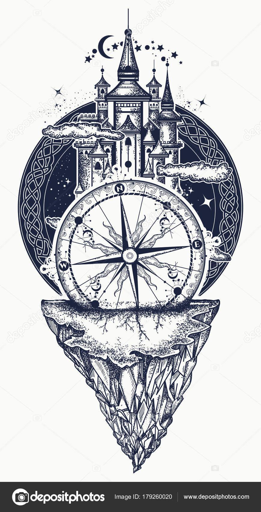 Tatuaze Tatuaz średniowieczny Zamek Góry I Kompas Grafika
