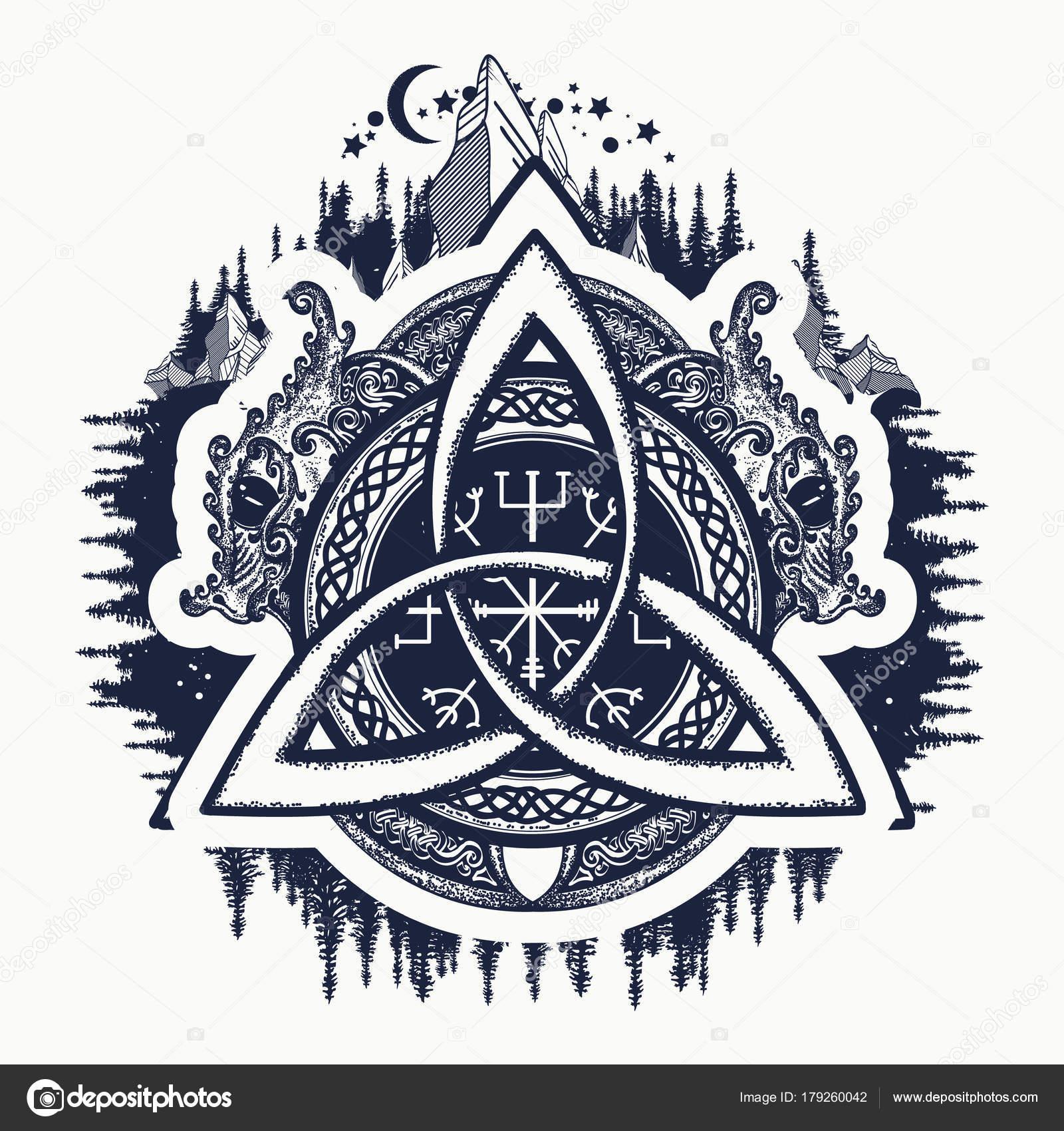 Dragons Symbol Viking Helm Awe Aegishjalmur Celtic Trinity Knot