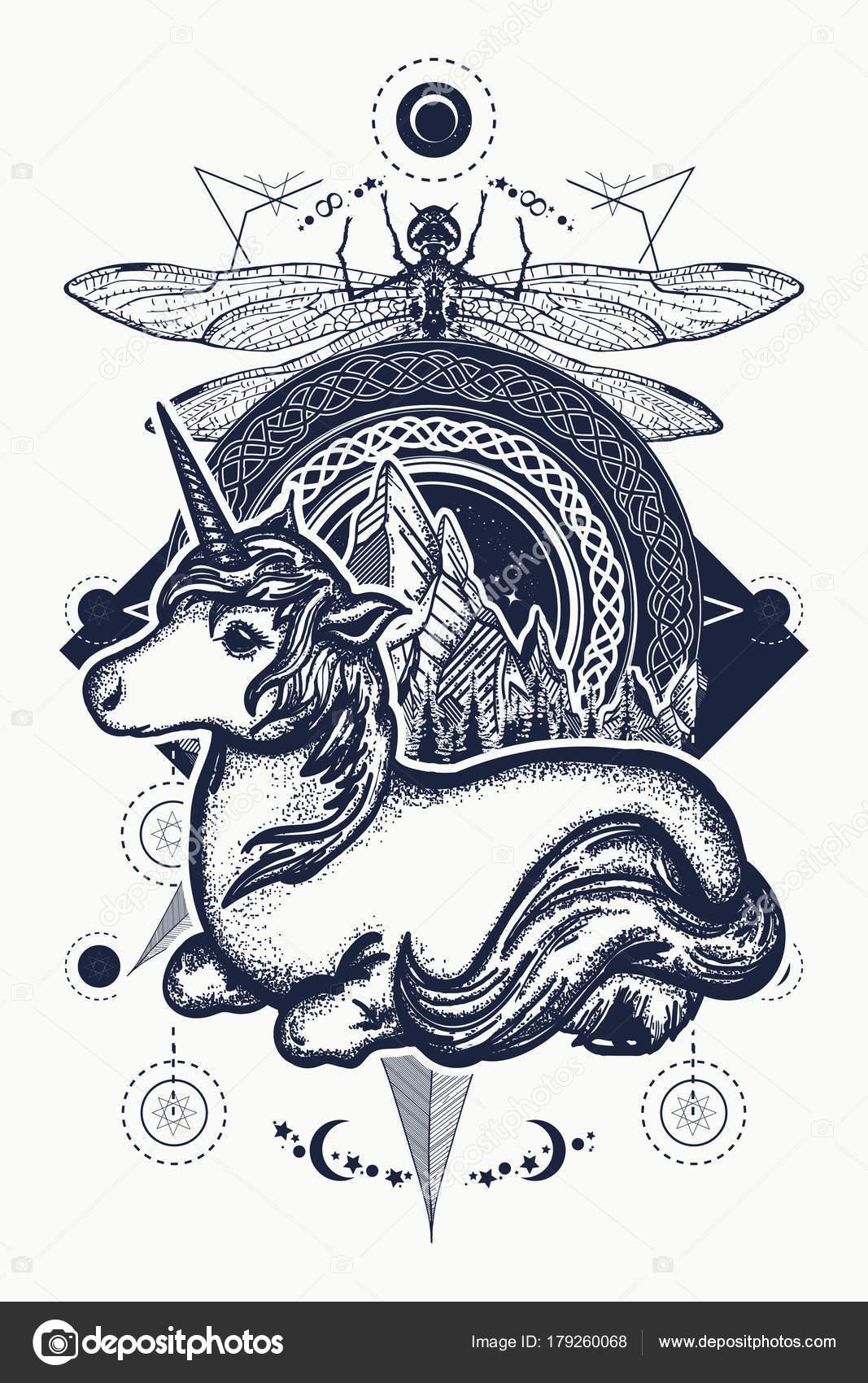 Magic Unicorn Dragonfly Mountains Circle Tattoo Celtic Style Great