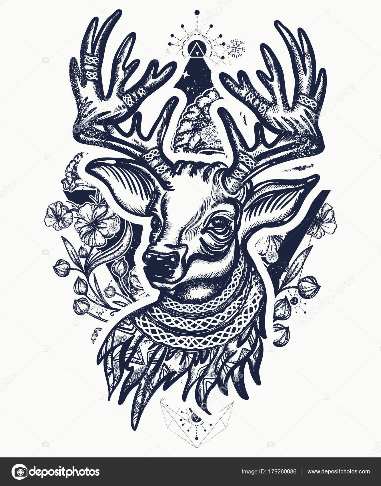 Christmas Deer Art Nouveau Flowers Tattoo Shirt Design Reindeer Head ...