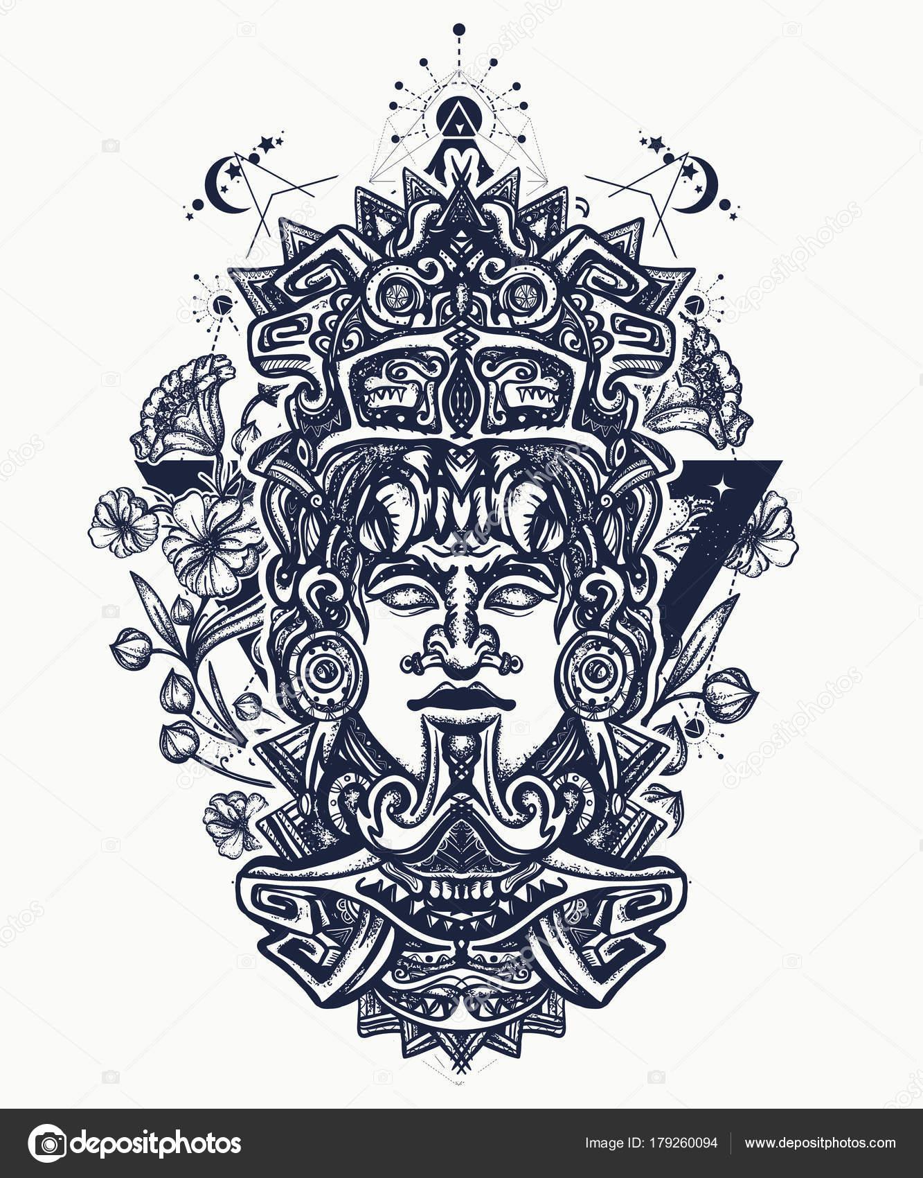 Vectores Maya Diseño Del Tatuaje Camiseta Maya Arte Indio Maya