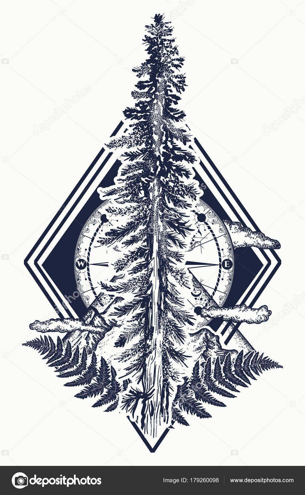 Sosny Drzewa Góry Kompas Tatuaż Symbol Turystyka Las Rock Climbing