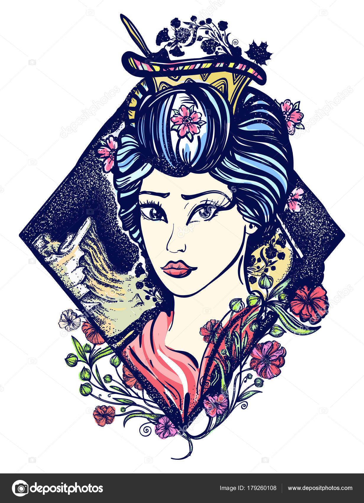 Japanese Geisha Tattoo Geisha Tattoo Shirt Design Symbol Asia Japan China Portrait Maiko Stock Vector C Intueri 179260108