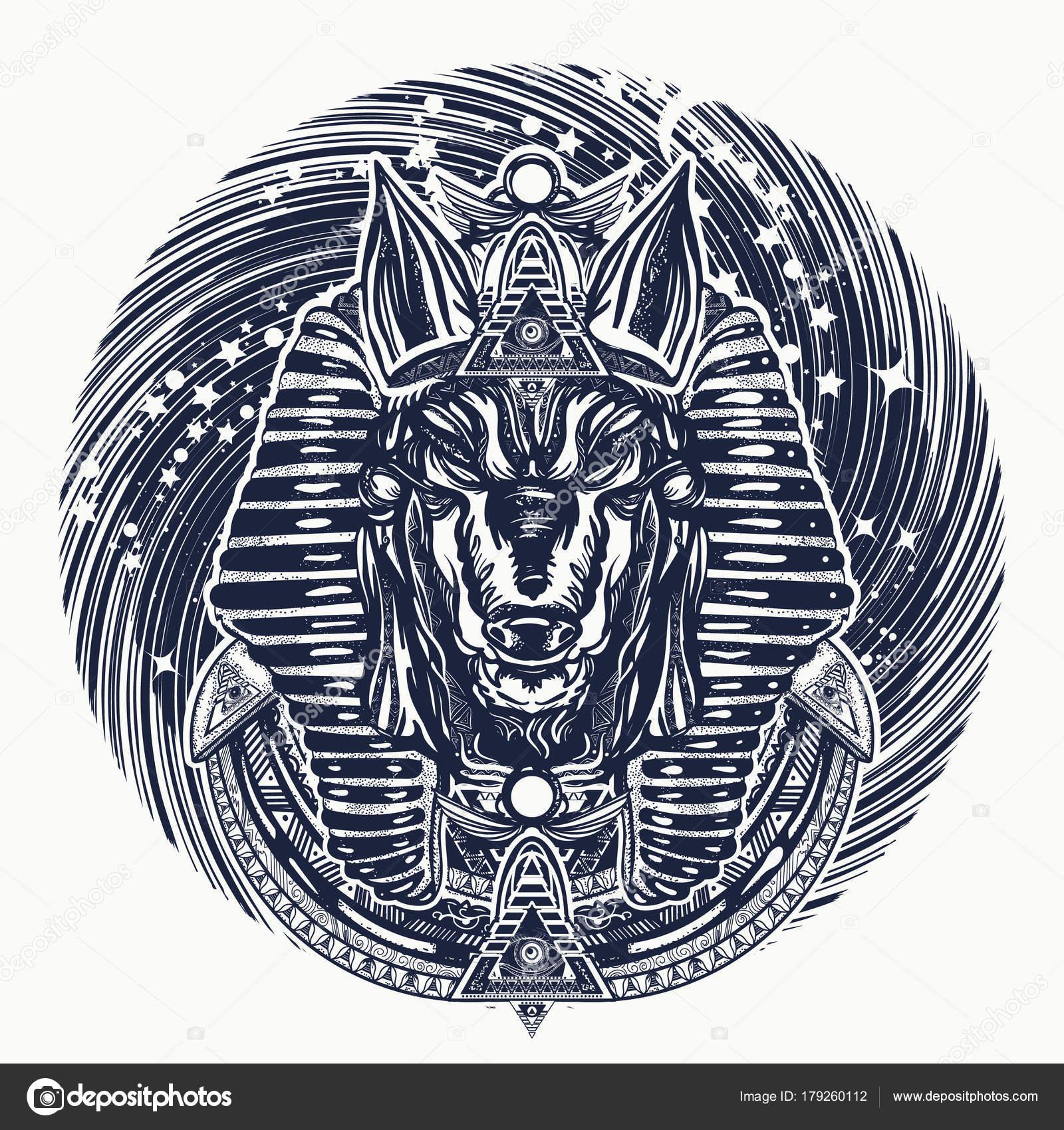 Diseño Del Tatuaje Camiseta Anubis Universo Antiguo Egipto Anubis