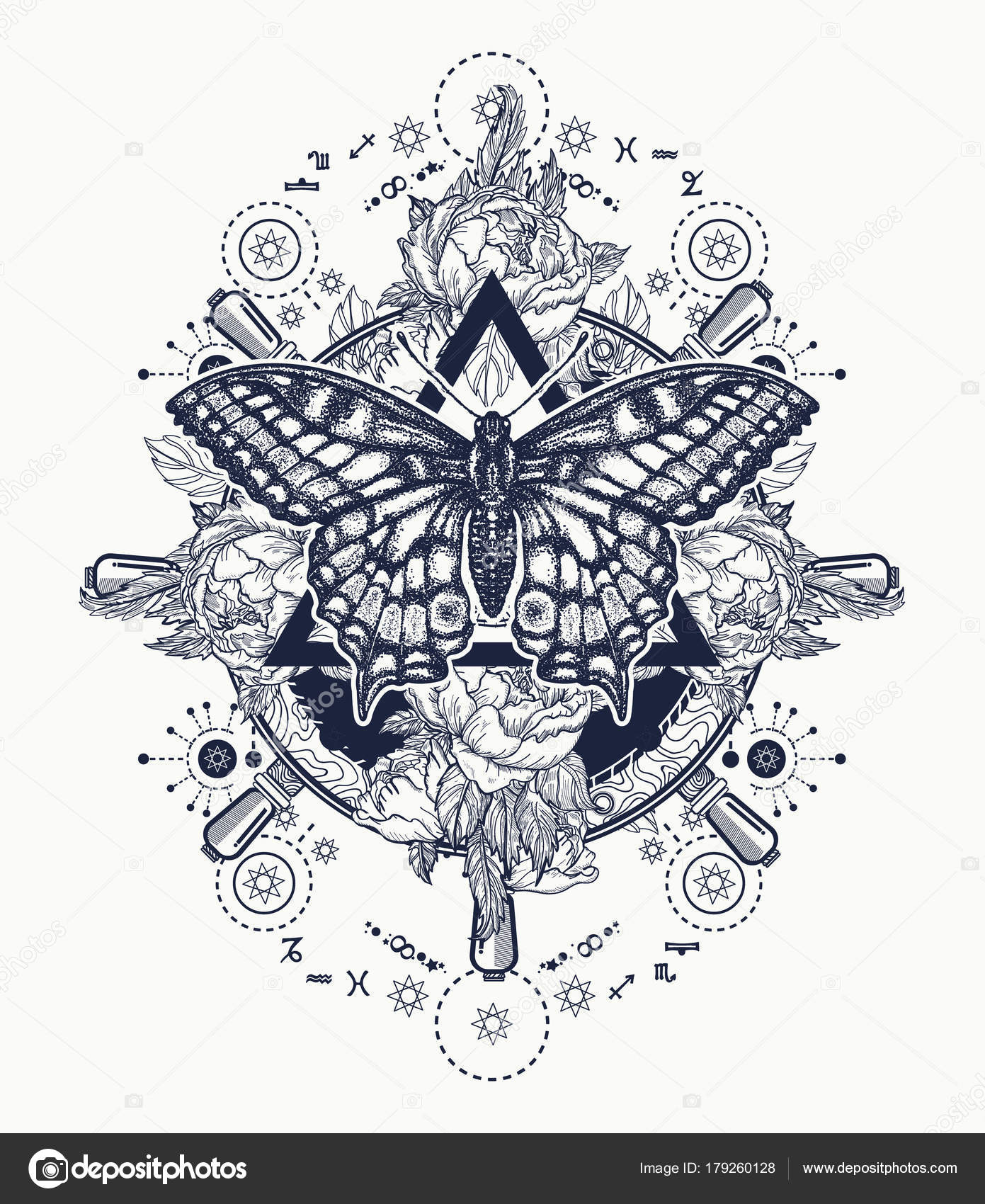 Magic Butterfly Tattoo Art Freemason Spiritual Symbols Alchemy