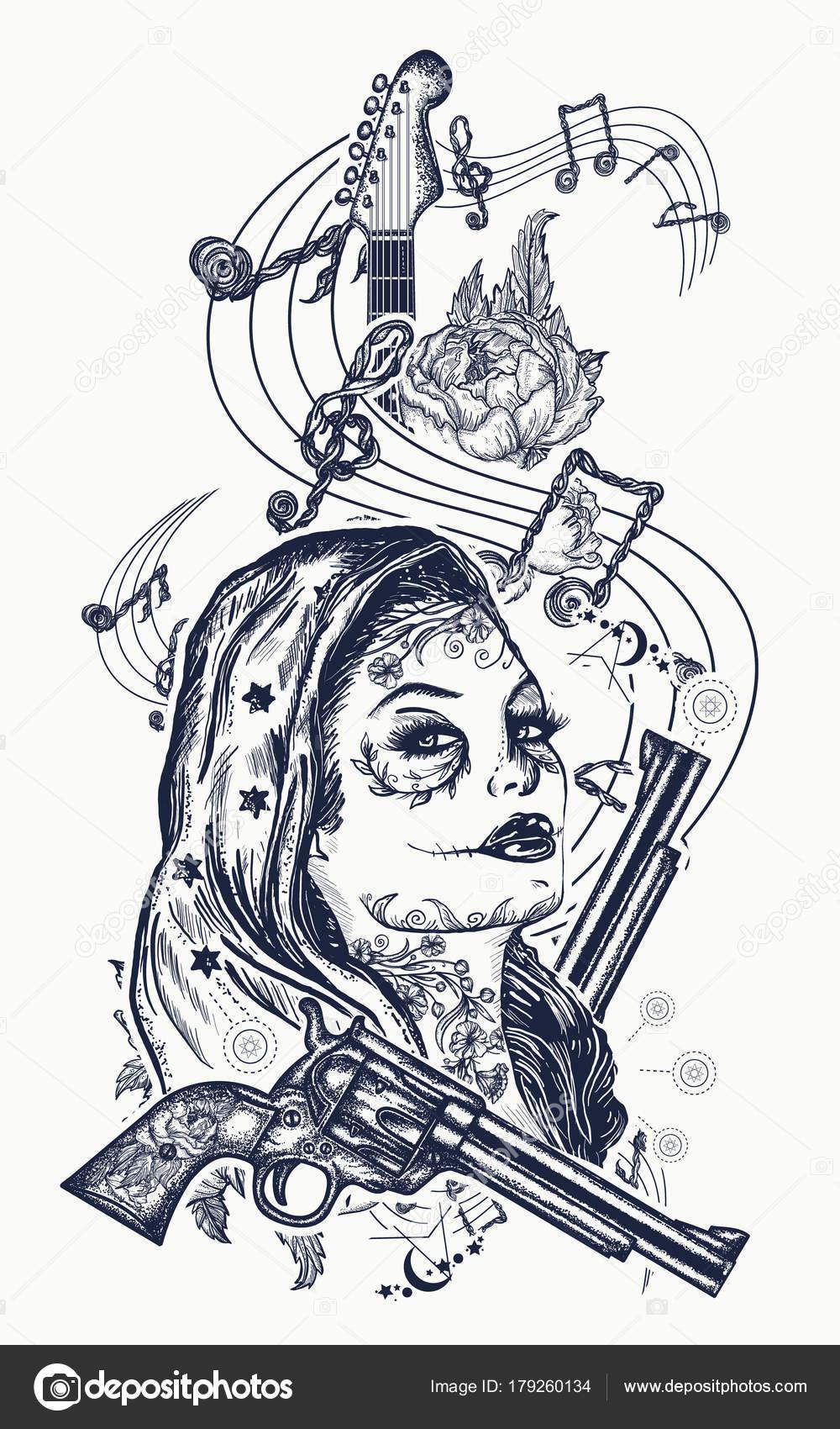 Vector Santa Muerte Eps Tatuaje Santa Muerte Chica Guitarra