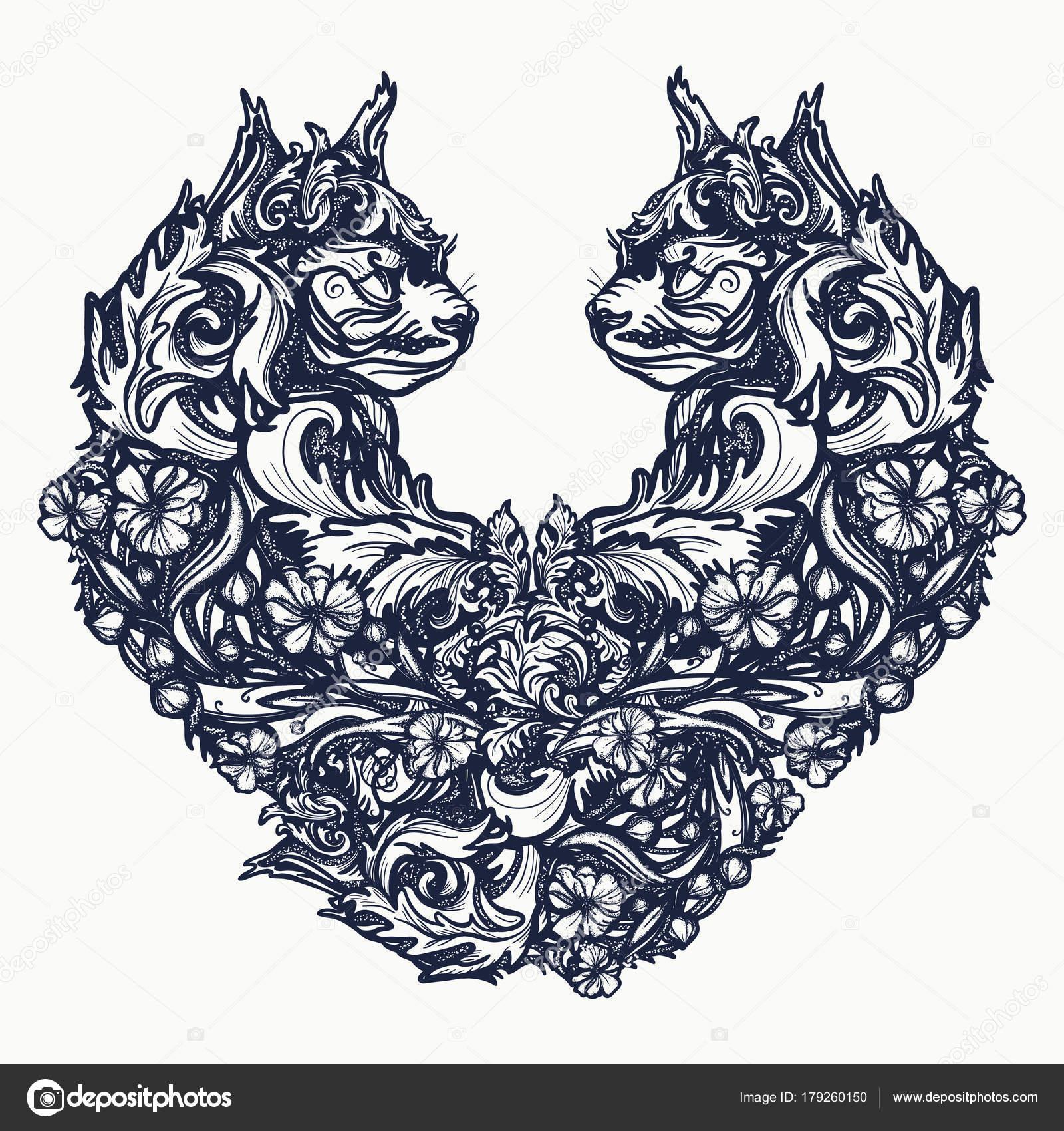 Dwa Koty Postaci Projektu Tatuaż Shirt Serce Symbol Miłości