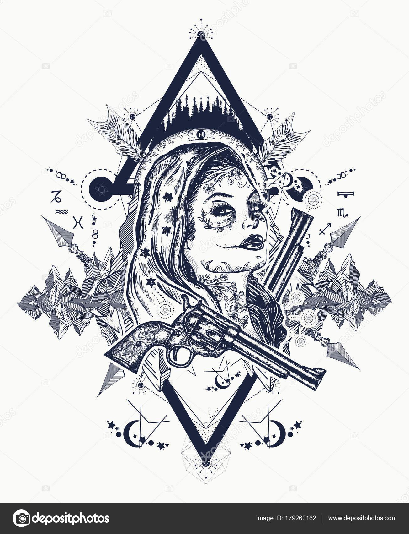 Meksykański Karnego Shirt Sztuki Tatuażu Dzikim Zachodzie