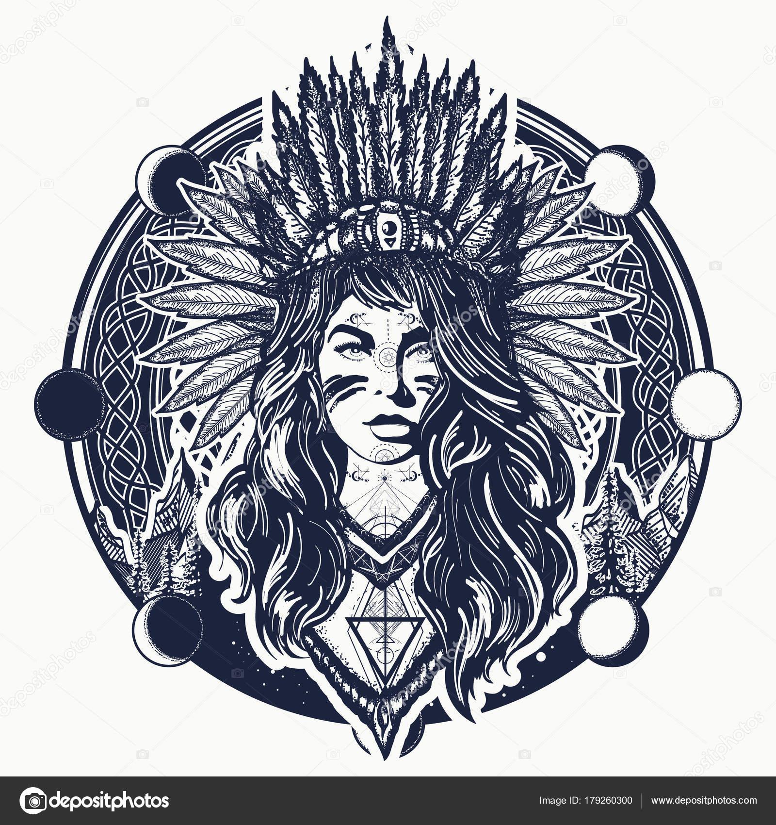 Dessin Tatouage Et T Shirt Du Indien Femme Et Montagnes Tribal