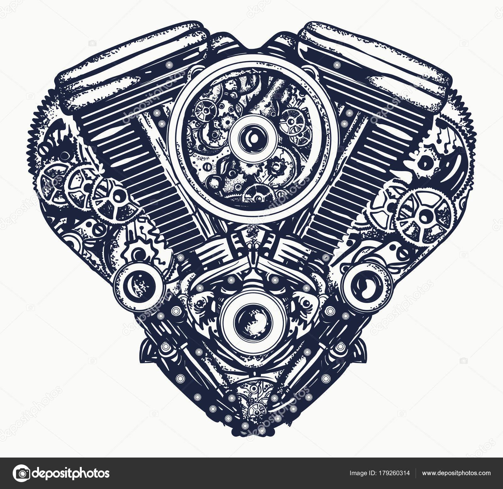 Technicznie Mechaniczne Serce Tatuaż Serca Wybuchu Silnika