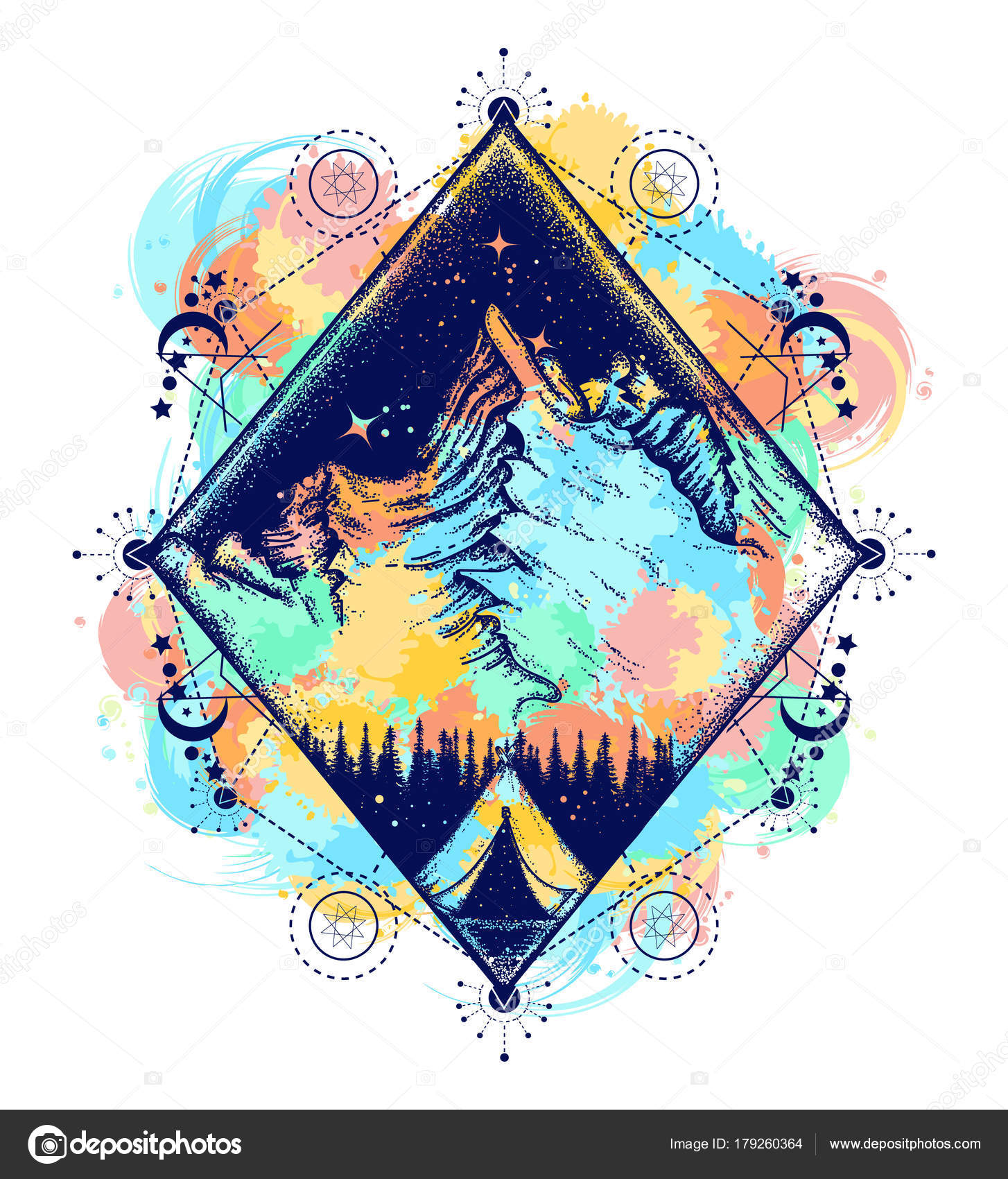429df079b Camping color tattoo and t-shirt design. Symbol of tourism — Stock Vector