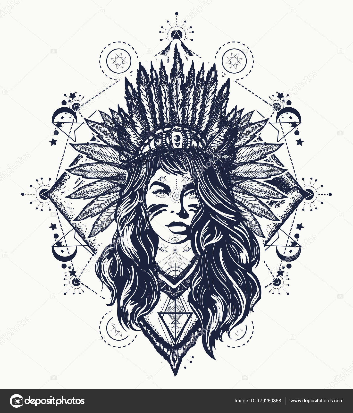 Tribal Woman Tattoo Shirt Design Native American Woman Tattoo Art